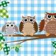Stock Vector: Family of owls