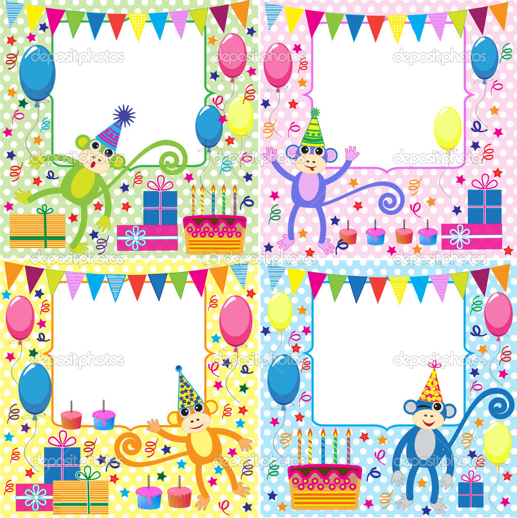 Vector set of birthday cards with funny monkeys  Stock Vector #8476742