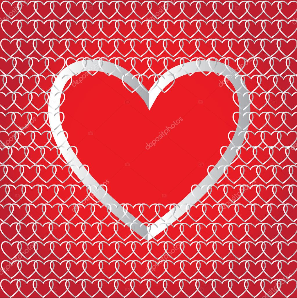 Chains of paper hearts. Creative design for Valentine`s day — Vektorgrafik #8552025