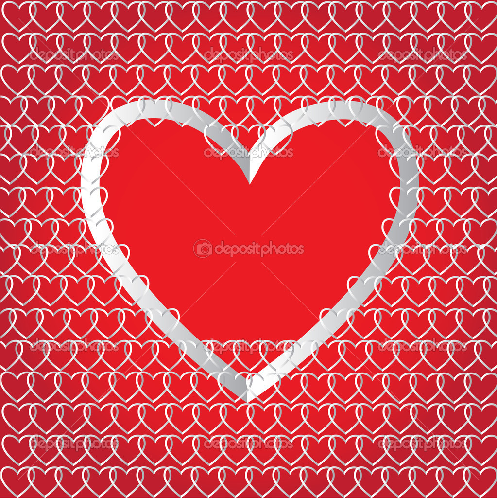 Chains of paper hearts. Creative design for Valentine`s day — Stockvectorbeeld #8552025