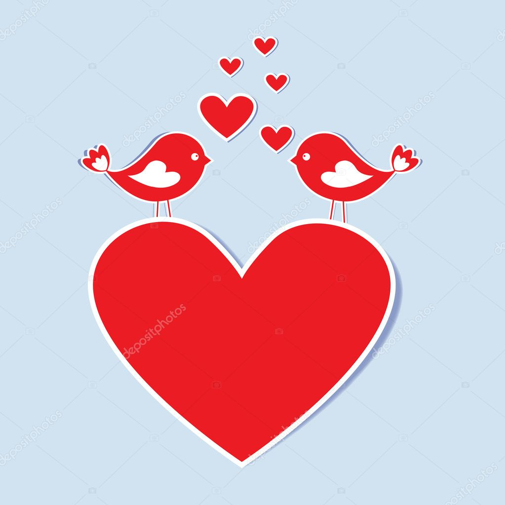 Paper heart with birds in love.Vector eps10 — Stock Vector #8552037