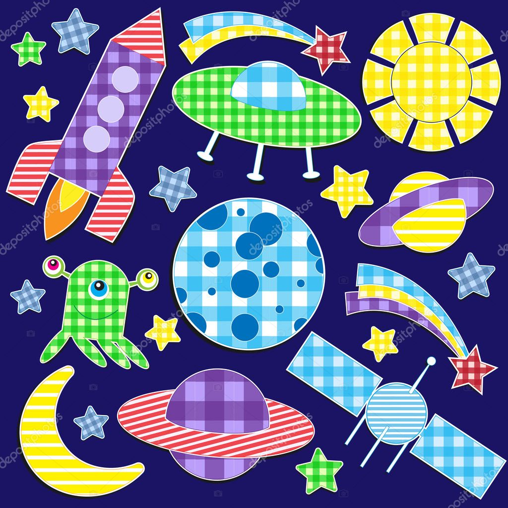 Cartoon space stickers.Vector set — Stock Vector #8552048