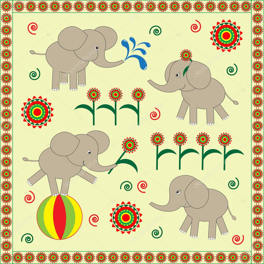Four cute Babies elephants.Vector illustration — Stock Vector #8664526