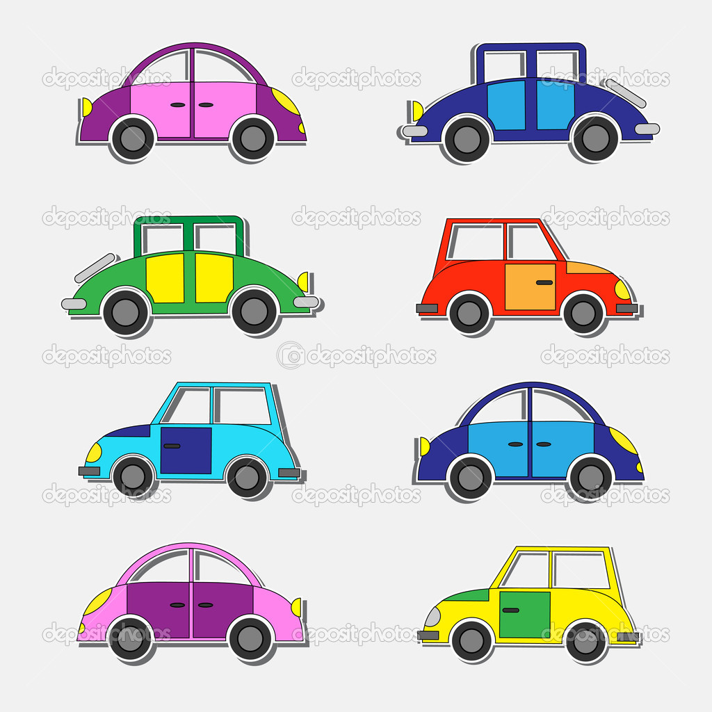 Colorful retro cars stickers.Vector set — Stock Vector #8664530