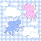Elephants angels — Stock Vector