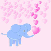 Corazón del bebé elefante haciendo jabón — Vector de stock