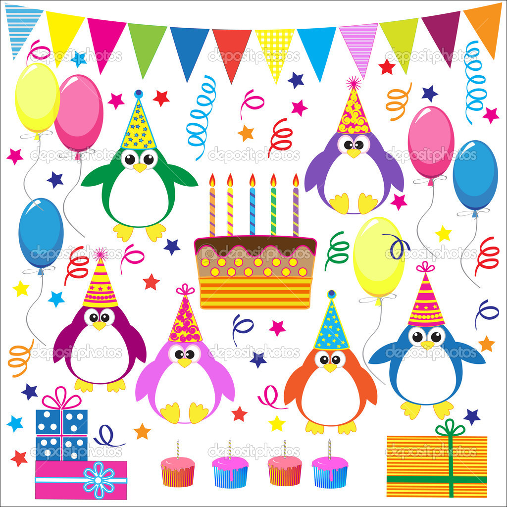 Birthday party elements with funny penguins.Vector set — Stock Vector #9122580