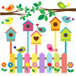 Birdhouses — Vector de stock #9420230