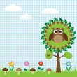 Stock Vector: Cute owl sitting on oak