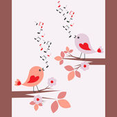 Cute birds singing — Stock Vector