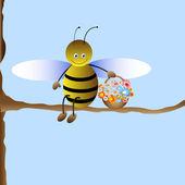 Cute cartoon bee — Stock Vector