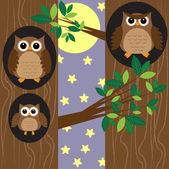 Family owls at night — Vector de stock