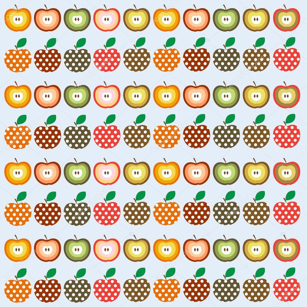 Retro seamless vector pattern with apples — Stock Vector #9420226