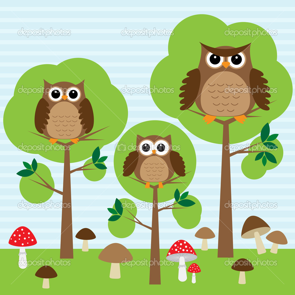 Cute family of owls in forest — Stock Vector #9420249