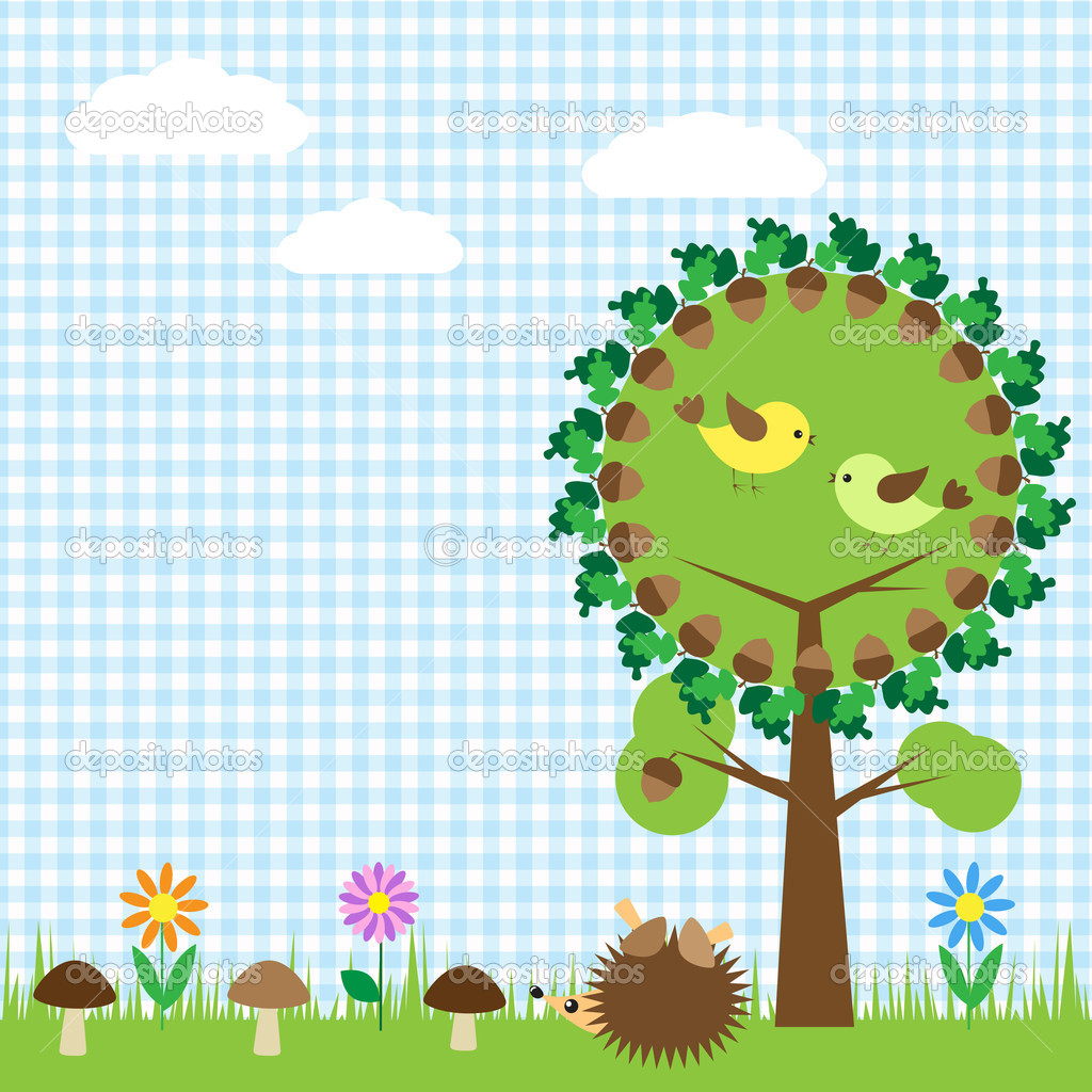 Oak and birds,flower, mushroom and hedgehog — Stock Vector #9423203