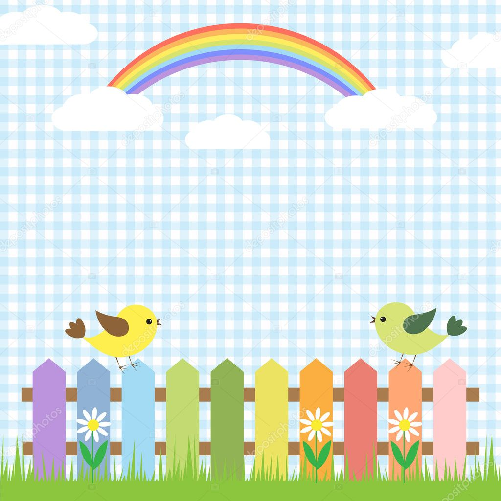 Cute birds and rainbow.Vector card design  Stock Vector #9463133