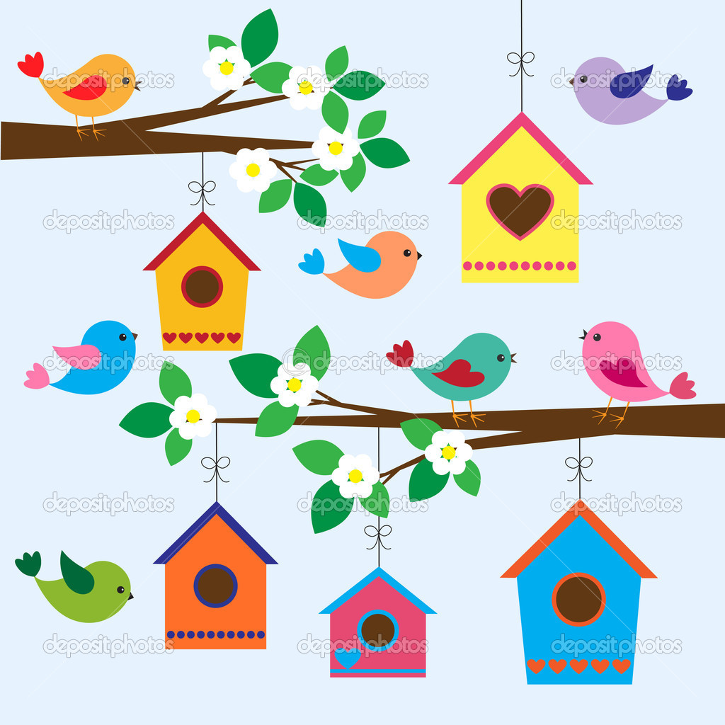 Colorful birds and birdhouses in spring — Stock Vector #9819514