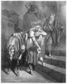 Arrival of the Good Samaritan at The Inn — Stock Photo