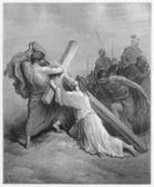 Jesus Falls with the Cross — Stock Photo