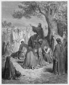 Jesus preaches to the — Stock Photo