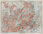 Vintage map of Copenhagen at the end of 19th century — Stock Photo