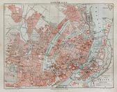 Vintage mapa de copenhague a finales del siglo xix — Foto de Stock