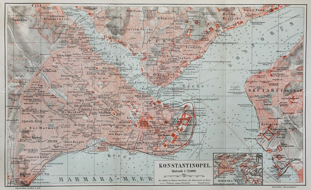 Vintage map of Constantinople (today Istanbul) — Stock ...