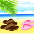 Holidays by the sea. Vacation on the beach. Holiday romance. Vector. — Векторная иллюстрация