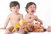 Baby twins girls are crying — Stock Photo