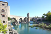 The old bridge (Besalú, girona, spain) — Stock Photo