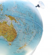 Stock Photo: Australia map on the globe close up