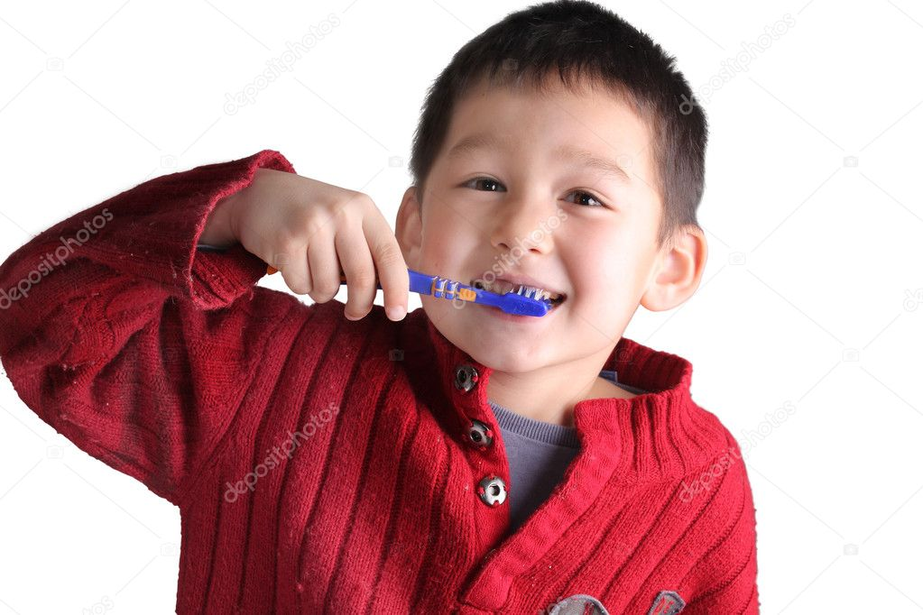 Beautiful boy brushing teeth — Stock Photo #8739629