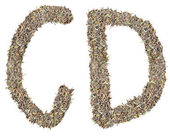 Letter C D with tea leaves — Stock Photo