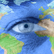 Man's eye with world — Stock Photo