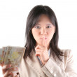 Stock Photo: Businesswomwith money transaction secret