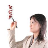 Smart business woman draws a line — Stock Photo