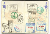 Passport european with stamps — 图库照片