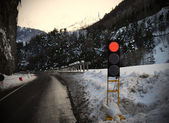 Red traffic light for snow or bad weather — Stock Photo