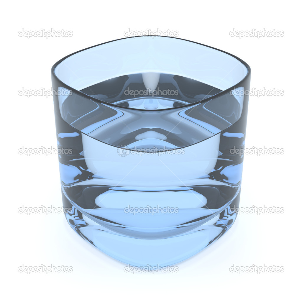 3D render of a light blue glass of fresh water on white background  Stock Photo #10588213