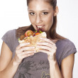 Girl with sandwich — Stok fotoğraf