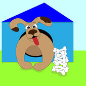 Dog in the doghouse — Stock Vector