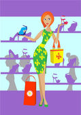 The girl in shop — Stock Vector