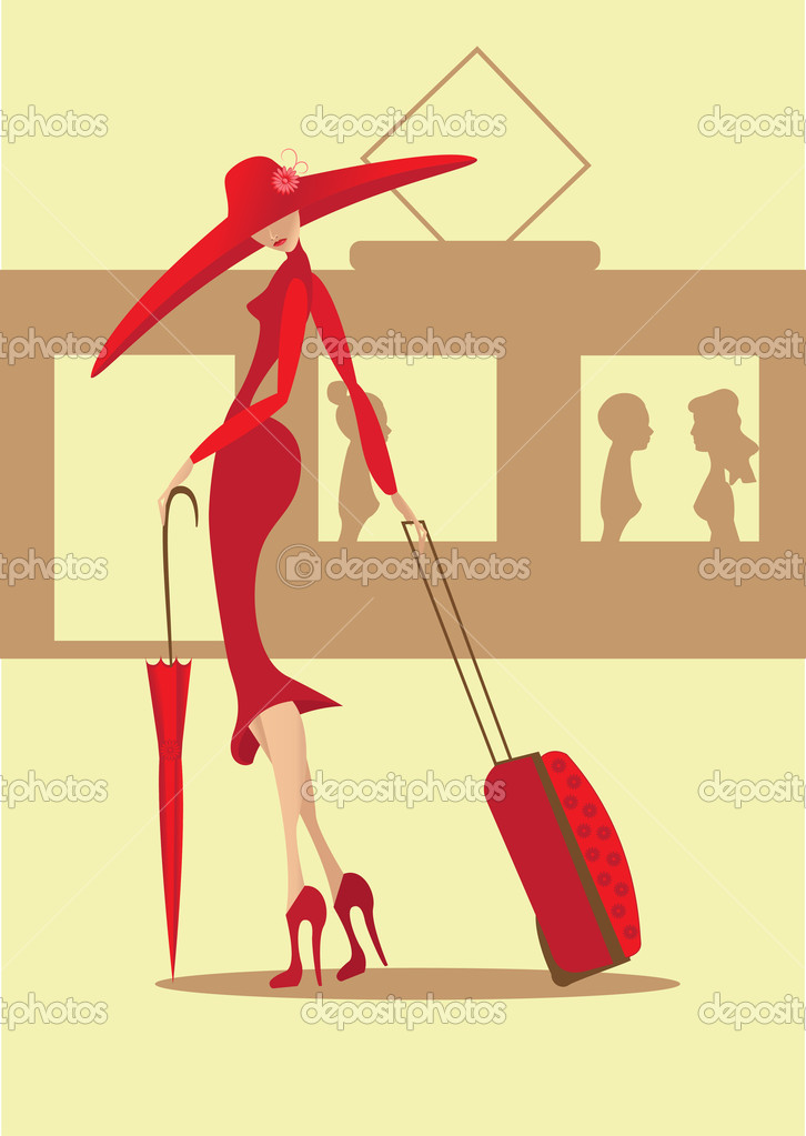 The lady in a red dress with a suitcase and an umbrella goes to a train — Stock Vector #8976297