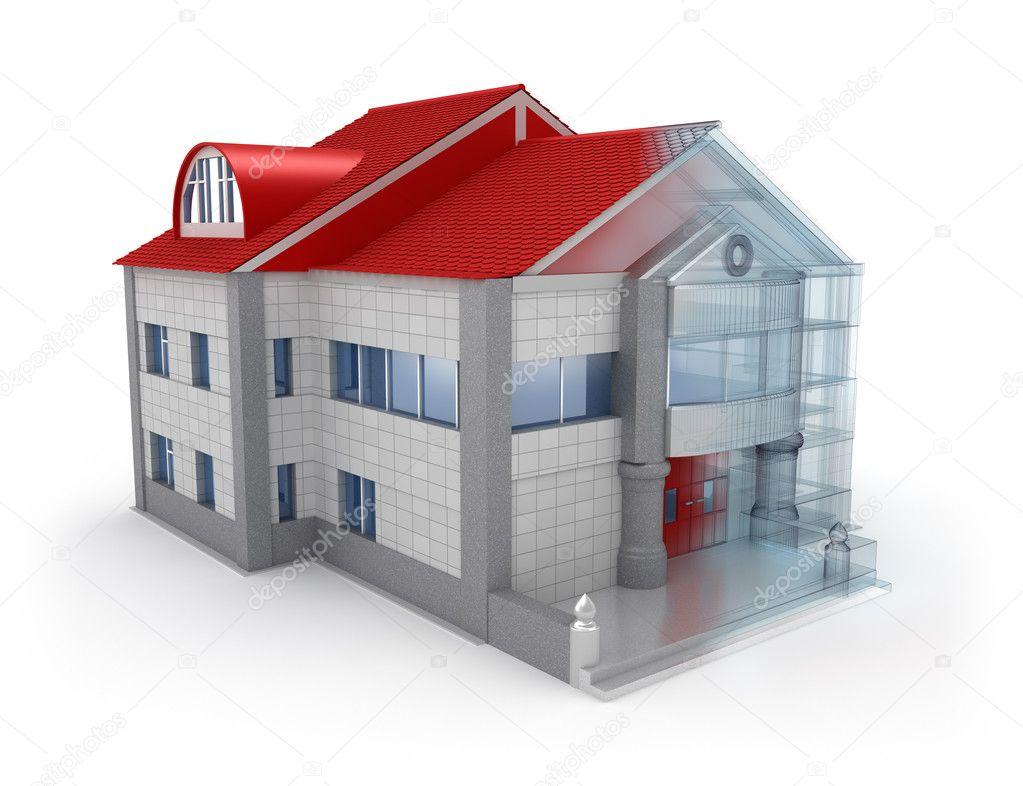 Exteriör hus design. över vit bakgrund — stockfotografi © alexmit ...