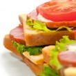 Ham sandwich with cheese, tomatoes and lettuce — Stok fotoğraf