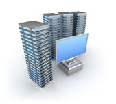 Hosting Server Farm and monitor — Stock Photo