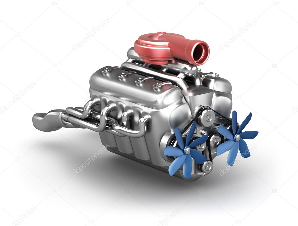 V8 engine with turbocharger over white. My own design. — Stock Photo #9272278