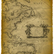 Old Map Of The Caribbean And The Eastern Coast Of USA — Foto Stock