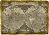 Old Nautical Map Of The World — Stock Photo