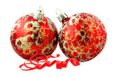 Christmas balls with string — Stock Photo